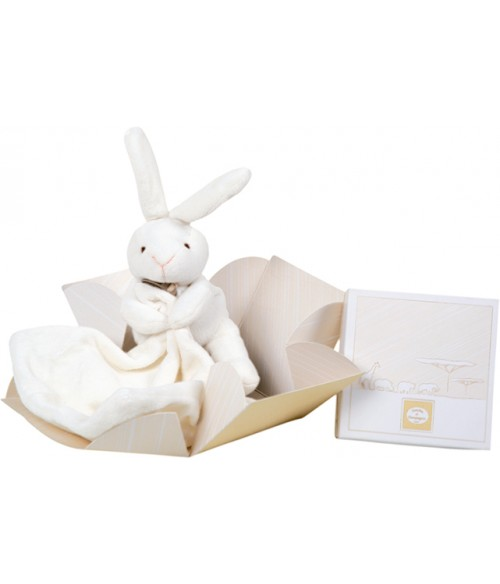 Lapin mouchoir en boite fleur - Doudou et compagnie