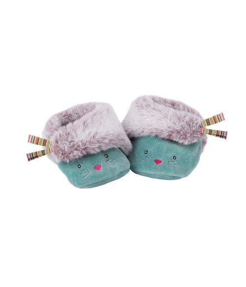 Chaussons chat bleus Moulin Roty - Les Pachats