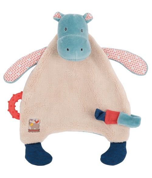 Doudou attache tétine hippopotame Les Papoum