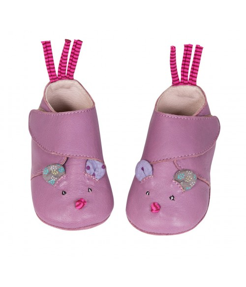 Chaussons cuir souris Moulin Roty
