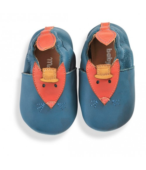 Chaussons cuir bleu Les Tartempois Moulin Roty