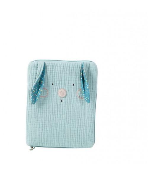Protège carnet de santé lapin bleu Les Jolis trop beaux Moulin Roty