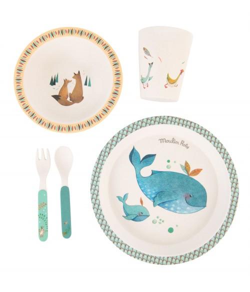 Set vaisselle en bambou - Le voyage d'Olga - Moulin Roty